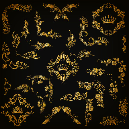 filigree: Vector set of gold decorative hand-drawn floral elements, filigree corners, borders, frame, crown, monograms on black background. Page, web site decoration in vintage style. Vector illustration EPS 10 Illustration