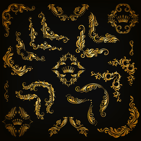 Vector set of gold decorative hand-drawn floral elements, filigree corners, borders, frame, crown, monograms on black background. Page, web site decoration in vintage style. Vector illustration EPS 10 Çizim