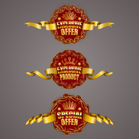 product quality: Set of luxury gold badges with border, stars, crown, ribbons. Exclusive offer, special product, quality guaranteed. Promotion emblems, icons, labels, medal for web, page design. Illustration EPS 10.