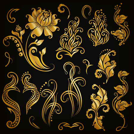 motives: Set of decorative handdrawn calligraphic elements gold floral pattern for page frame border invitation gift card design. Elegant retro collection on black background.