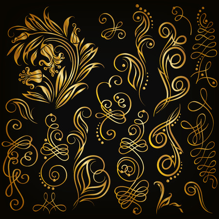 Set of decorative handdrawn calligraphic elements gold floral pattern for page frame border invitation gift card design. Elegant retro collection on black background.