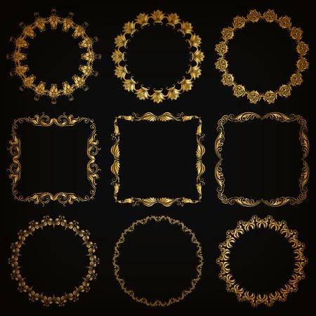 fondo elegante: Conjunto del vector de la mano marco decorativo dibujado elementos frontera con elementos florales para el diseño de tarjeta de bono de regalo de bodas diploma certificado saludo invitación. Decoración de página en el estilo vintage. Vectores