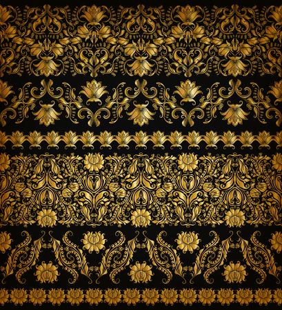 デザインの水平ゴールデン レース パターン装飾的な要素の罫線のセットです。黒い背景にシームレスな手描き花飾り。ページ web サイト装飾。
