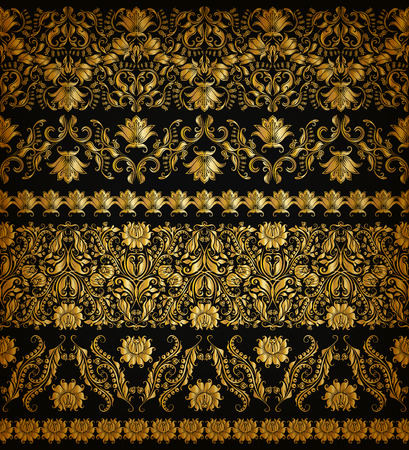 Set of horizontal golden lace pattern decorative elements borders for design. Seamless handdrawn floral ornament on black background. Page web site decoration.