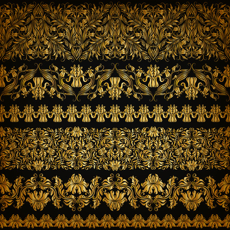 riches: Set of horizontal golden lace pattern decorative elements borders for design. Seamless handdrawn floral ornament on black background. Page web site decoration.