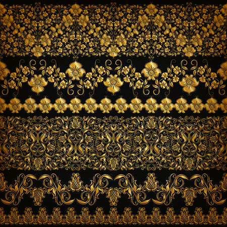 page decoration: Set of horizontal golden lace pattern, decorative elements, borders for design. Seamless hand-drawn floral ornament on black background. Page, web site decoration. Vector illustration EPS 10.