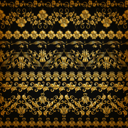 vector ornament: Set of horizontal golden lace pattern, decorative elements, borders for design. Seamless hand-drawn floral ornament on black background. Page, web site decoration. Vector illustration EPS 10.