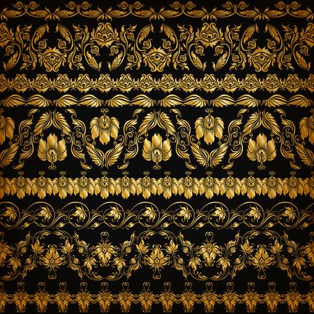 floral decoration: Set of horizontal golden lace pattern, decorative elements, borders for design. Seamless hand-drawn floral ornament on black background. Page, web site decoration. Vector illustration EPS 10.