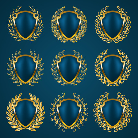 Set of luxury golden vector shields with laurel wreaths. Royal heraldic emblem, icons, label, badge, blazon, monogram for web, page design with place for text. Vector illustration EPS 10. Illustration