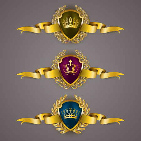 Set of luxury golden vector shields with laurel wreaths, crowns, ribbons. Royal heraldic emblem, icons, label, badge, blazon, monogram for web, page design. Vector illustration EPS 10.