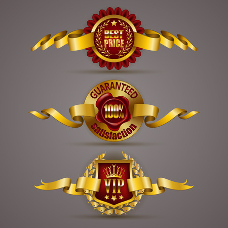 gold crown: Set of luxury gold badges with laurel wreath, crown, wax seal, ribbons. 100 percent guaranteed, best price, vip. Promotion emblems, icons, labels, medal, blazons for web, page design. Illustration EPS 10.