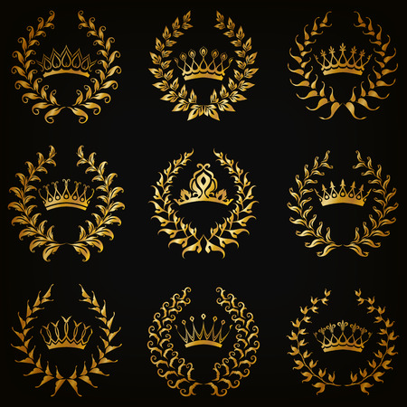 black background abstract: Set of luxury gold labels, emblem, medals, sign with laurel wreath, crown for retro design of diploma, award, logo, icon. Page, web decoration, royal symbol, sticker, badge. Vector illustration EPS 10