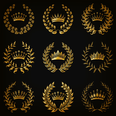 crown logo: Set of luxury gold labels, emblem, medals, sign with laurel wreath, crown for retro design of diploma, award, logo, icon. Page, web decoration, royal symbol, sticker, badge. Vector illustration EPS 10