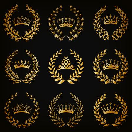 crown: Set of luxury gold labels, emblem, medals, sign with laurel wreath, crown for retro design of diploma, award, logo, icon. Page, web decoration, royal symbol, sticker, badge. Vector illustration EPS 10