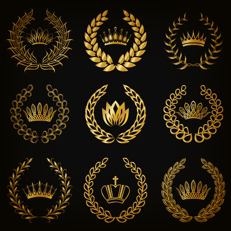 wreath collection: Set of luxury gold labels, emblem, medals, sign with laurel wreath, crown for retro design of diploma, award, logo, icon. Page, web decoration, royal symbol, sticker, badge. Vector illustration EPS 10