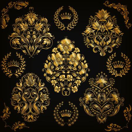 Set of gold damask ornaments. Floral element, ornate border, corner, crown, frame, laurel wreath for design. Page, web royal decoration on black background in vintage style. Vector illustration EPS 10