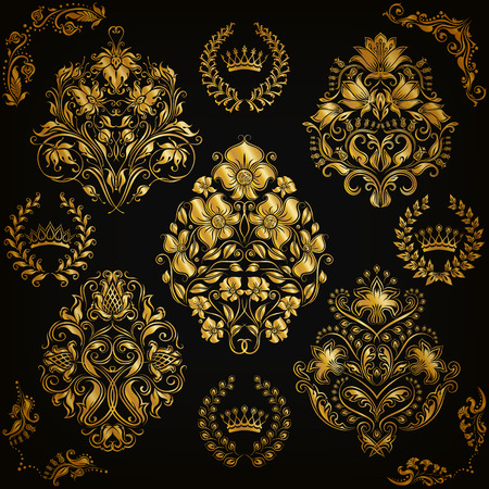 Set of gold damask ornaments. Floral element, ornate border, corner, crown, frame, laurel wreath for design. Page, web royal decoration on black background in vintage style. Vector illustration EPS 10
