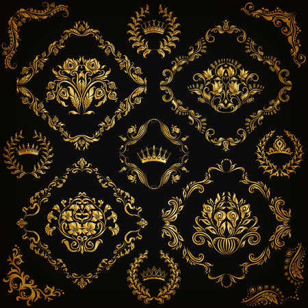 corner design: Set of gold damask ornaments. Floral element, ornate border, corner, crown, frame, laurel wreath for design. Page, web royal decoration on black background in vintage style. Vector illustration EPS 10