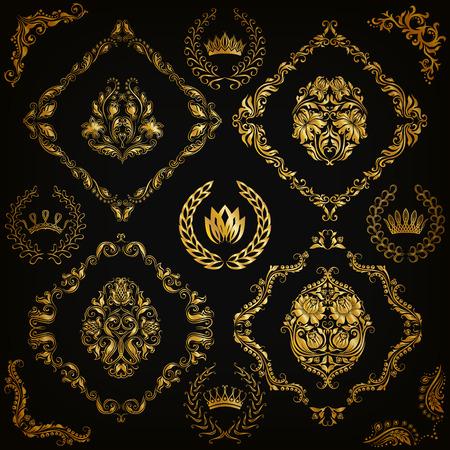 ornaments floral: Set of gold damask ornaments. Floral element, ornate border, corner, crown, frame, laurel wreath for design. Page, web royal decoration on black background in vintage style. Vector illustration EPS 10