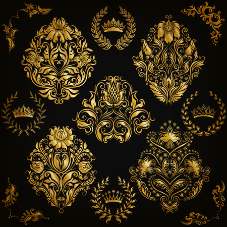 gold floral: Set of gold damask ornaments. Floral element, ornate border, corner, crown, frame, laurel wreath for design. Page, web royal decoration on black background in vintage style. Vector illustration EPS 10