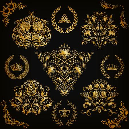 vintage border: Set of gold damask ornaments. Floral element, ornate border, corner, crown, frame, laurel wreath for design. Page, web royal decoration on black background in vintage style. Vector illustration EPS 10
