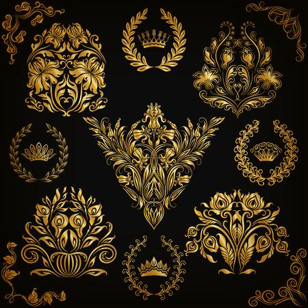 ornate frame: Set of gold damask ornaments. Floral element, ornate border, corner, crown, frame, laurel wreath for design. Page, web royal decoration on black background in vintage style. Vector illustration EPS 10