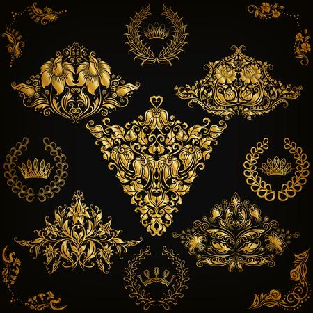 vector element: Set of gold damask ornaments. Floral element, ornate border, corner, crown, frame, laurel wreath for design. Page, web royal decoration on black background in vintage style. Vector illustration EPS 10