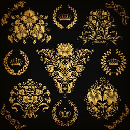 arte greca: Set di ornamenti in oro damascate. Elemento floreale, bordi ornati, angolo, corona, telaio, corona di alloro per il design. Pagina, decorazione reale web su sfondo nero in stile vintage. Illustrazione vettoriale EPS 10