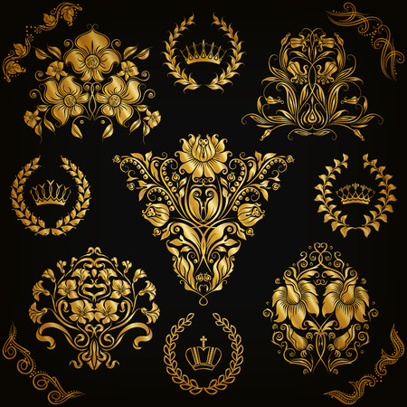 royal background: Set of gold damask ornaments. Floral element, ornate border, corner, crown, frame, laurel wreath for design. Page, web royal decoration on black background in vintage style. Vector illustration EPS 10