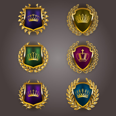 shields: Set of luxury golden vector shields with laurel wreaths, crowns. Royal heraldic emblem, icons, label, badge, blazon for web, page design. Vector illustration EPS 10.