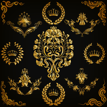 floral decoration: Set of gold damask ornaments. Floral element, ornate border, corner, crown, frame, laurel wreath for design. Page, web royal decoration on black background in vintage style. Vector illustration EPS 10