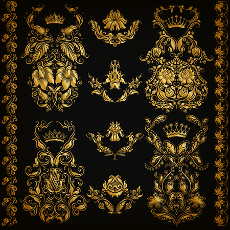 border: Set of gold damask ornaments. Floral elements, ornate borders, filigree crowns, arabesque for design. Page, web royal golden decoration on black background in vintage style. Vector illustration EPS 10