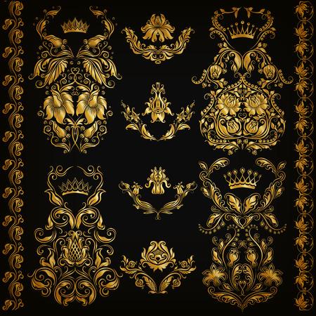 Set of gold damask ornaments. Floral elements, ornate borders, filigree crowns, arabesque for design. Page, web royal golden decoration on black background in vintage style. Vector illustration EPS 10