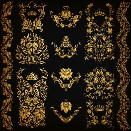 floral decoration: Set of gold damask ornaments. Floral elements, ornate borders, filigree crowns, arabesque for design. Page, web royal golden decoration on black background in vintage style. Vector illustration EPS 10