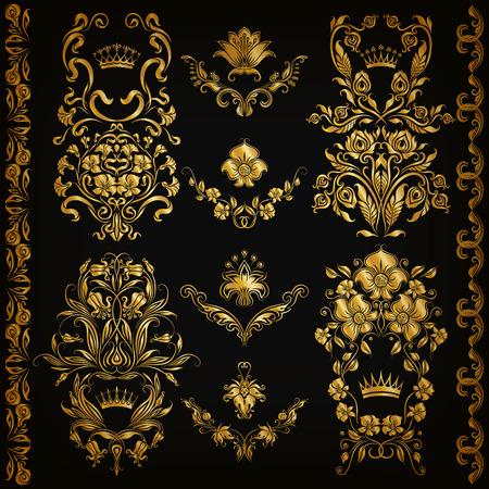 vines: Set of gold damask ornaments. Floral elements, ornate borders, filigree crowns, arabesque for design. Page, web royal golden decoration on black background in vintage style. Vector illustration Illustration