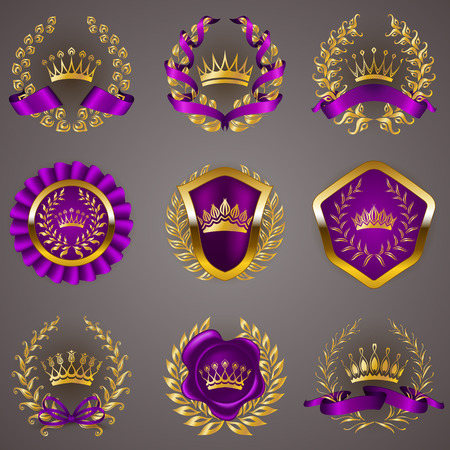 seal: Set of luxury gold labels, medals, stickers, icons with laurel wreath, filigree crowns, bow, wax seal, ribbons for page, web design. Royal heraldic elements in vintage style. Illustration