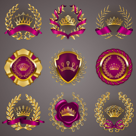 royal logo: Set of luxury gold labels, medals, stickers, icons, logo with laurel wreath, filigree crowns, bow, wax seal, ribbons for page, web design. Royal heraldic elements in vintage style. Illustration EPS 10 Illustration
