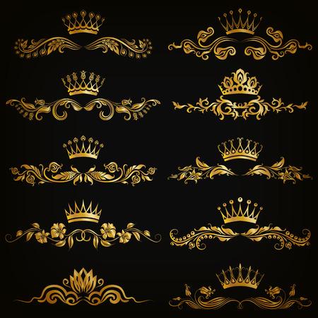 Set of filigree damask ornaments. Floral golden elements, borders, dividers, frames, crowns for page, web design. Page decoration in vintage style on black background. Vector illustration EPS 10.