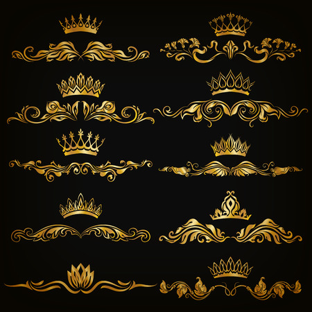 decoration style: Set of filigree damask ornaments. Floral golden elements, borders, dividers, frames, crowns for page, web design. Page decoration in vintage style on black background. Vector illustration EPS 10.