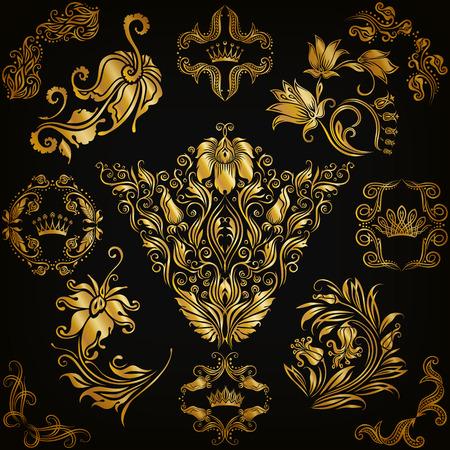 ornaments floral: Set of gold damask ornaments. Floral elements, ornate borders, filigree crowns, arabesque for design. Page, web royal golden decoration on black background in vintage style. Vector illustration