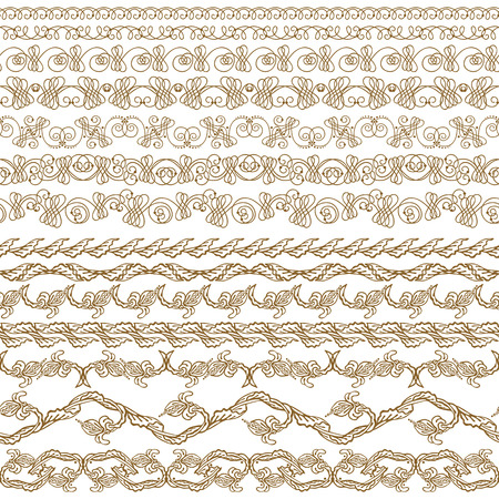 vines: Set of lace borders for page, web design of invitation, greeting, wedding, gift card, certificate, diploma, voucher. Seamless damask ornament. Page decoration in vintage style. Vector illustration.