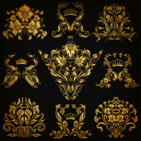 Set of gold damask ornaments. Floral elements, ornate borders, filigree crowns, arabesque for design. Page, web royal golden decoration on black background in vintage style. Vector illustration  Illustration