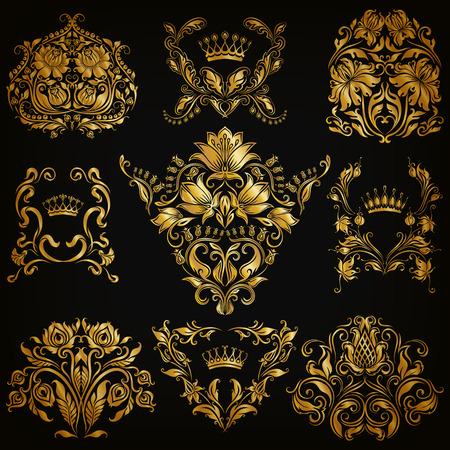 royal rich style: Set of gold damask ornaments. Floral elements, ornate borders, filigree crowns, arabesque for design. Page, web royal golden decoration on black background in vintage style. Vector illustration  Illustration