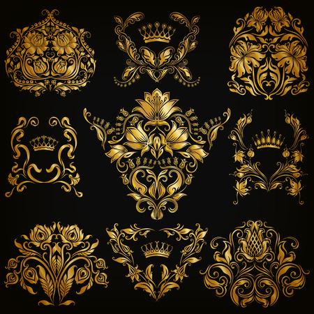 royal background: Set of gold damask ornaments. Floral elements, ornate borders, filigree crowns, arabesque for design. Page, web royal golden decoration on black background in vintage style. Vector illustration  Illustration