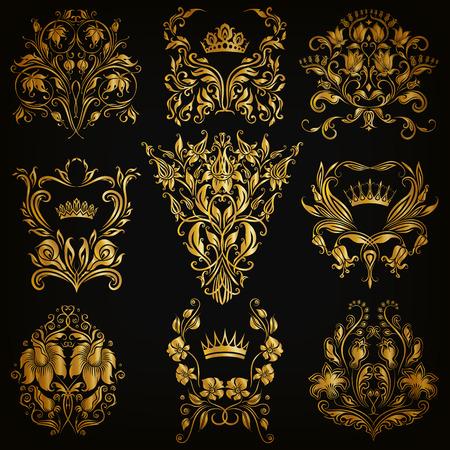 ornament: Set of gold damask ornaments. Floral elements, ornate borders, filigree crowns, arabesque for design. Page, web royal golden decoration on black background in vintage style. Vector illustration EPS 10