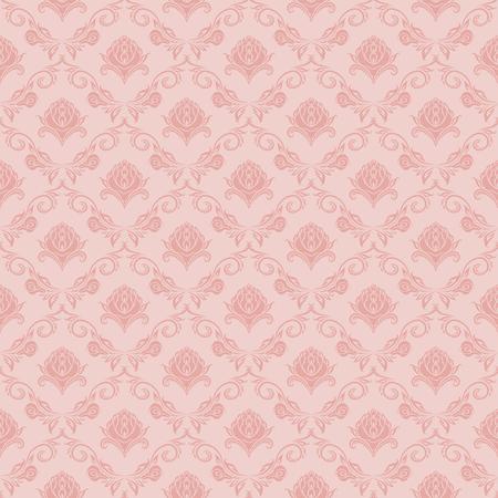 Damask seamless floral pattern. Royal wallpaper. Floral ornaments on pink background. Vector illustration Illustration