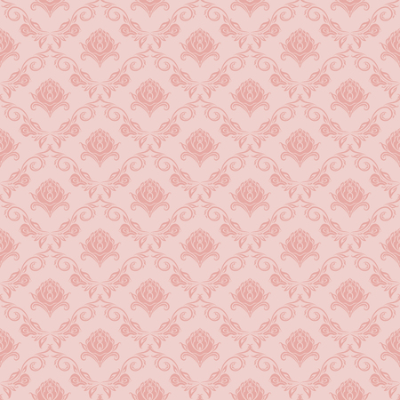 Damask seamless floral pattern. Royal wallpaper. Floral ornaments on pink background. Vector illustration Illustration