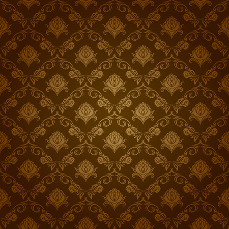 gold brown: Damask seamless floral pattern. Royal wallpaper. Flowers on a brown background. Vector illustration EPS 10. Illustration