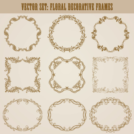 vintage ornament: Vector set of decorative hand drawn elements, border, frame with floral elements for design of invitation, greeting, wedding, gift card, certificate, diploma, voucher. Page decoration in vintage style Illustration