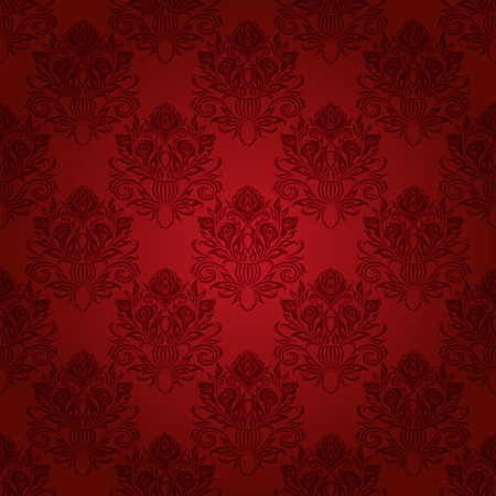 Damask seamless floral pattern. Royal wallpaper. Flowers on a red background. Vector illustration EPS 10.